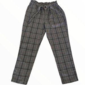 Streetwear Society Grey Plaid Paperbag Pants Large